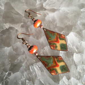 Geometric in Green and Orange Enamel