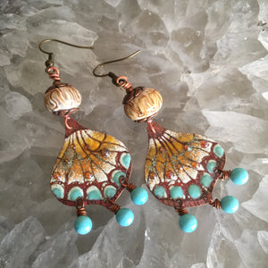 Enamel Butterfly Wing in Burnt Honey and Turquoise