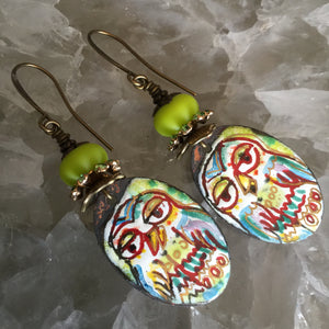 Neon Enamel Owl Earrings