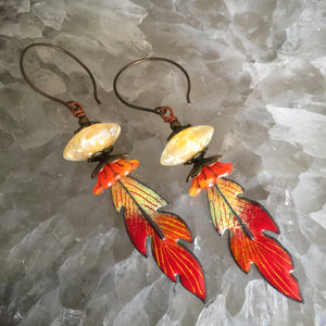 Feather in Orange Enamel