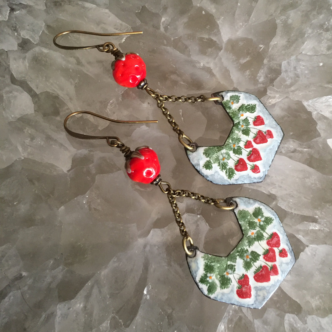 Hanging Strawberries Enamel