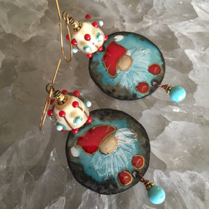 Christmas Elf Round in Blue and Red