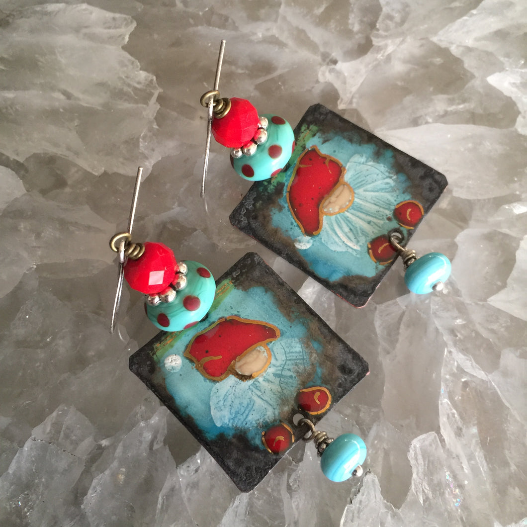 Little Blue Gnomes Enamel Earrings