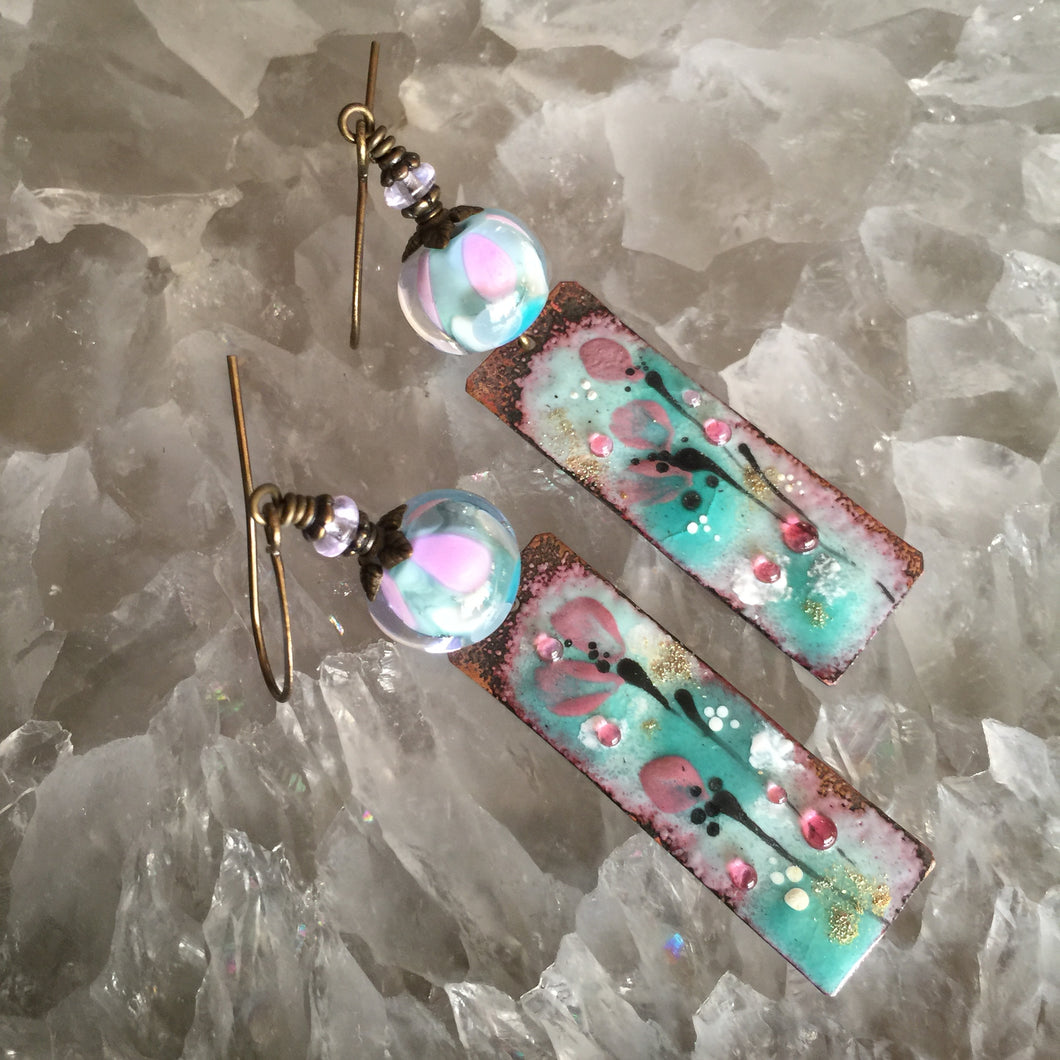 Abstract Floral Enamel in Aqua and Pink