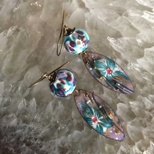 Abstract Floral in Blue and Purple Enamel