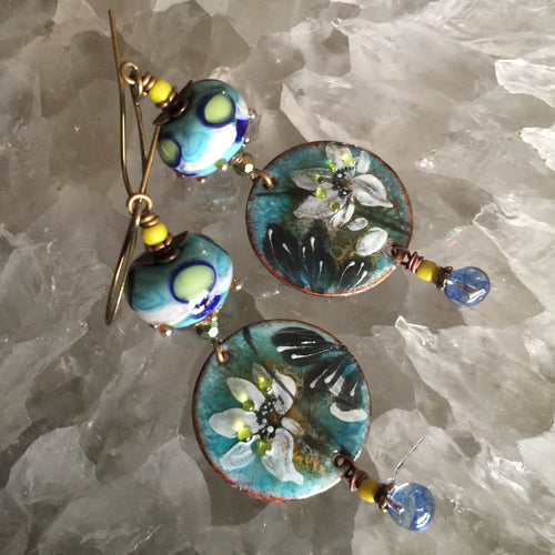 Abstract Floral in Blue and Green Enamel
