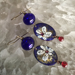 Abstract Floral Blue and Red Enamel
