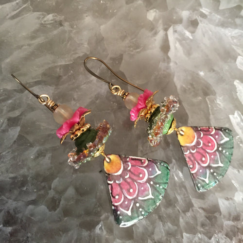 Abstract Floral in Neon Pink Enamel