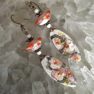 Abstract Floral in Vermilion and Pink Enamel