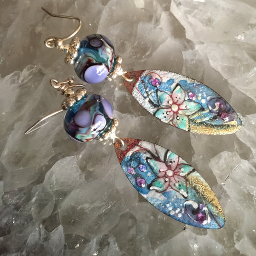 Abstract Floral in Purple and Blue Enamel