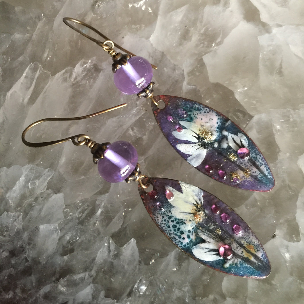 Abstract Floral in Purple and Jean Enamel