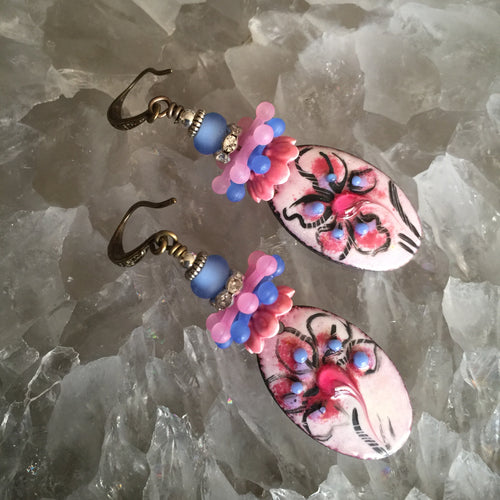 Abstract Floral in Pink and Blue Enamel