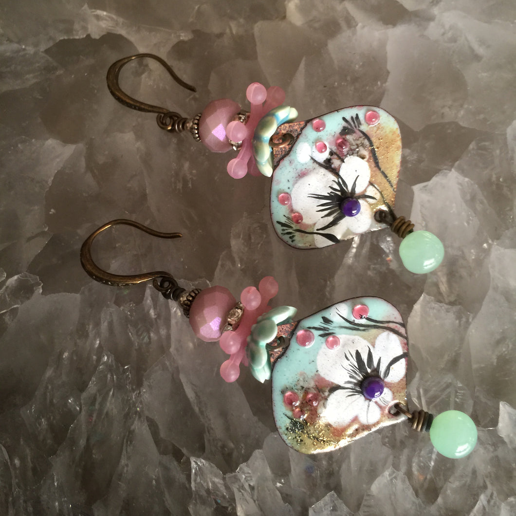 Abstract Floral in Seafoam and Pink Enamel