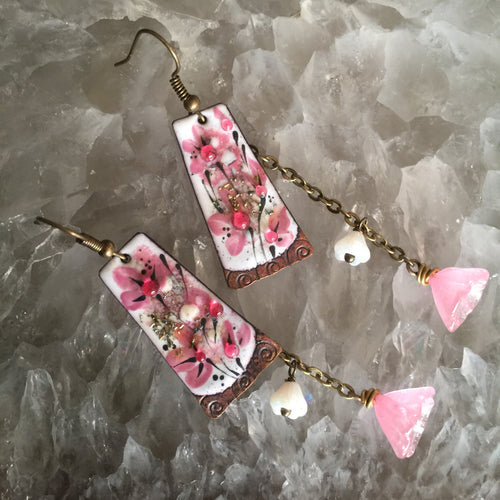 Abstract Floral in White and Pink Enamel