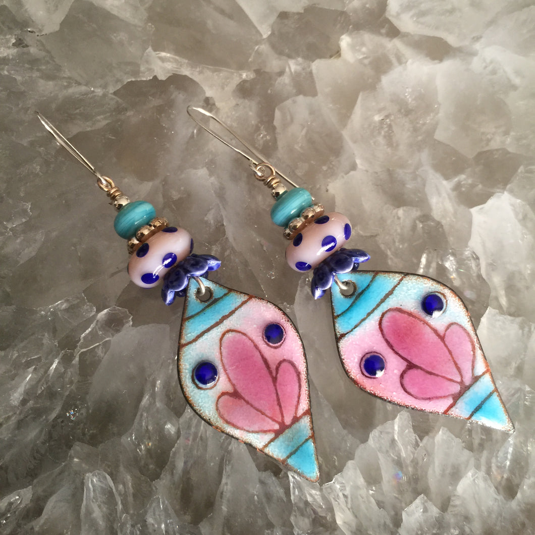 Pink and Blue Enamel with Dotted Bead