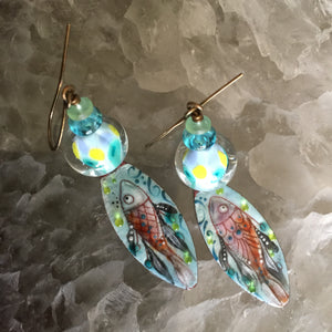 Fish in Pink and Aqua Enamel
