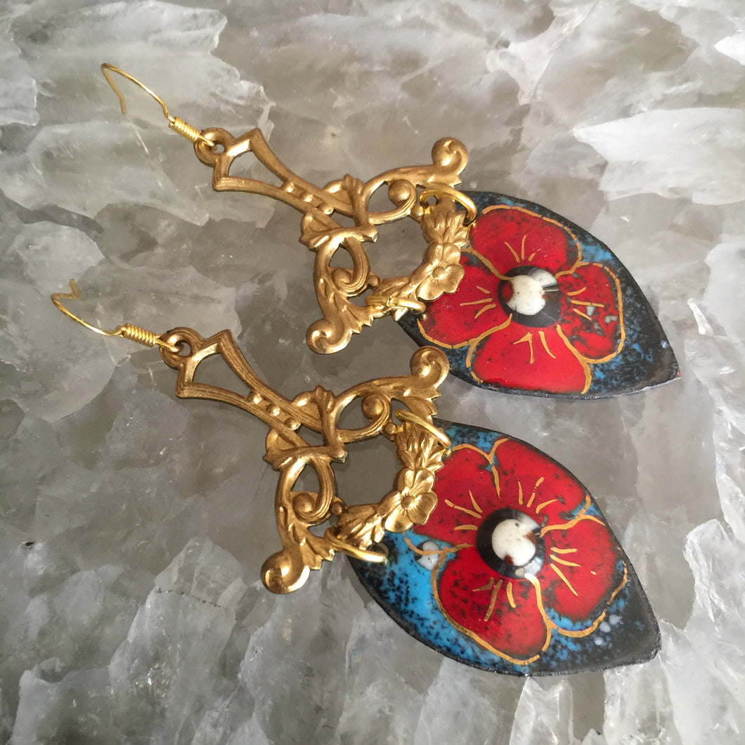 Large Bright Red and Blue Enamel