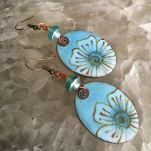 Large Floral in Light Blue Enamel