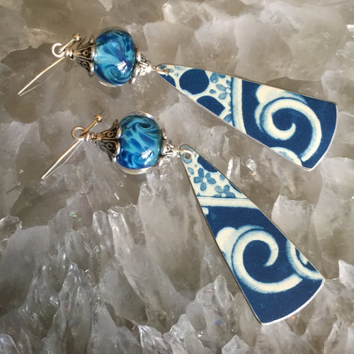 Blue and White Tin with Swirl Blue Lampwork Beads