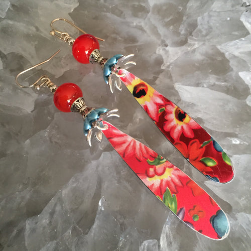 Long Red Floral Tin Drops with Bright Orange Red Bead