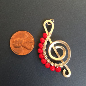 Silver Music Charm with Bright Red Faceted Beads