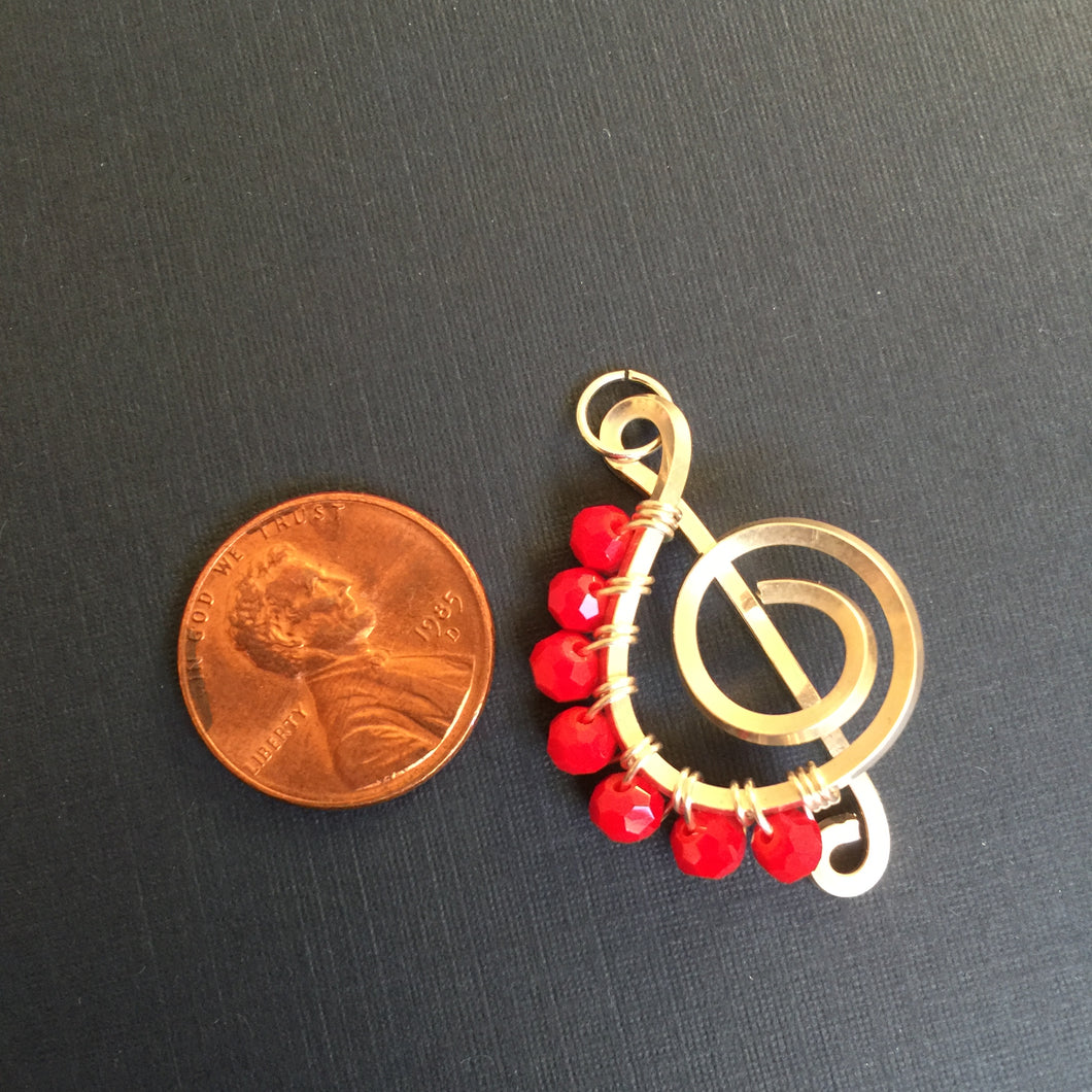 Short Red Faceted Beads Music Necklace