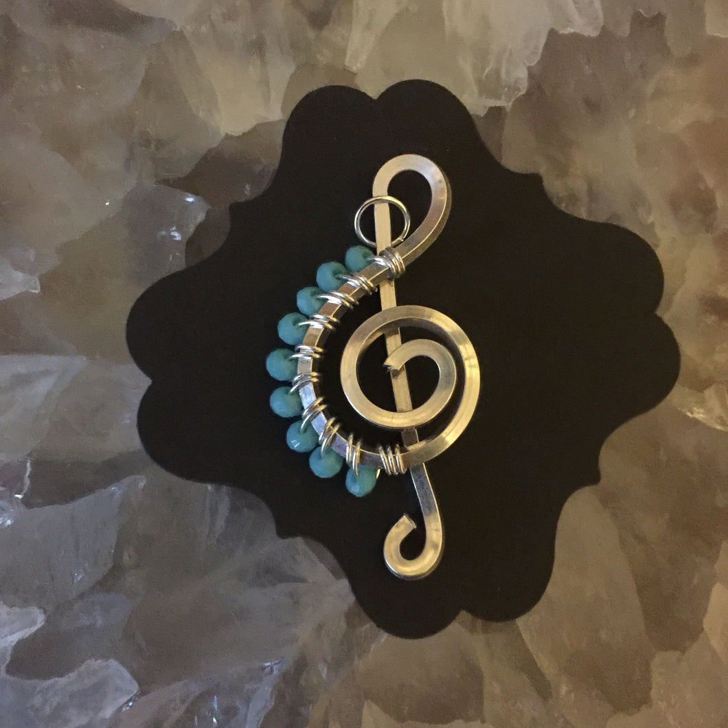 Medium Teal Faceted Beads Music Necklace