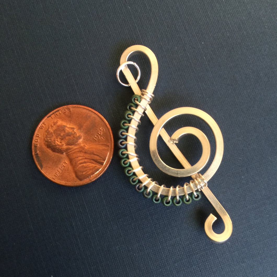 Soft Dark Green Seed Beads Music Necklace