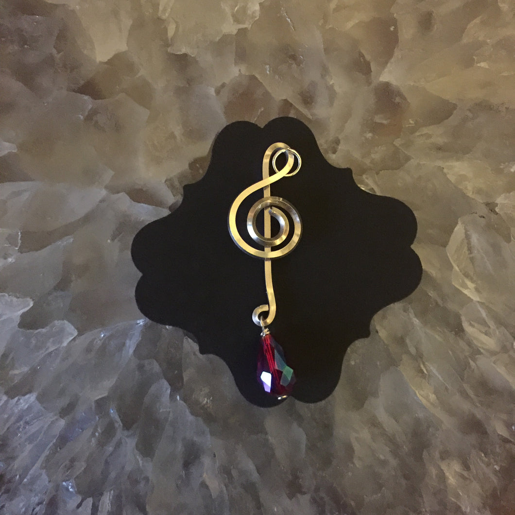 Silver Music Charm with Drop Shiny Pink Bead
