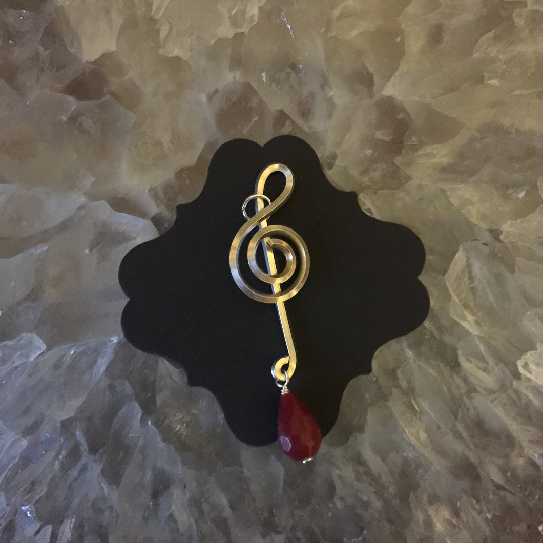 Silver Music Charm with Drop Small Stone Bead