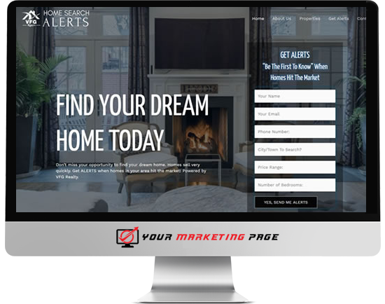home search alerts marketing page