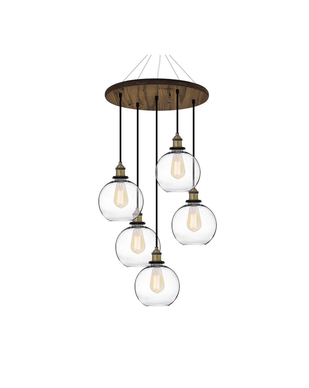 18 Round Wood Chandelier Antique And Glass Globe Shades Hangout Lighting