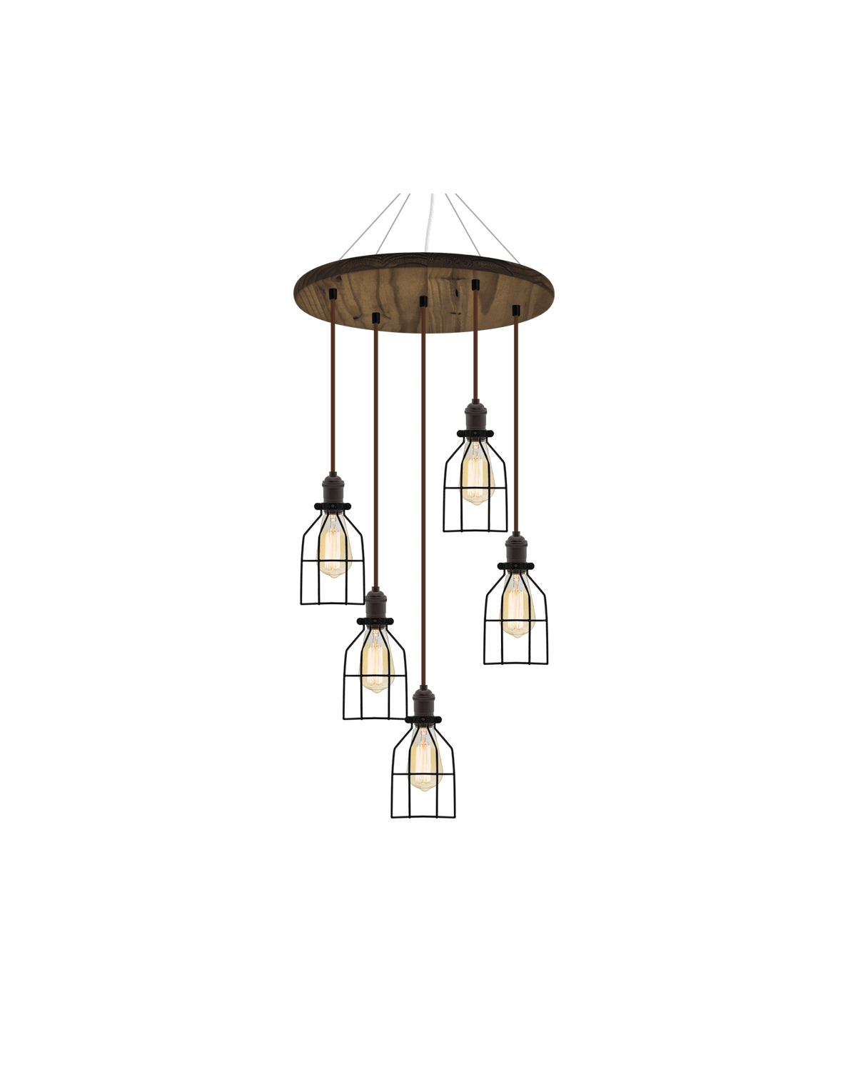 "18"" Round Wood Chandelier: Walnut, Black, and Black Round Cages Hangout Lighting"