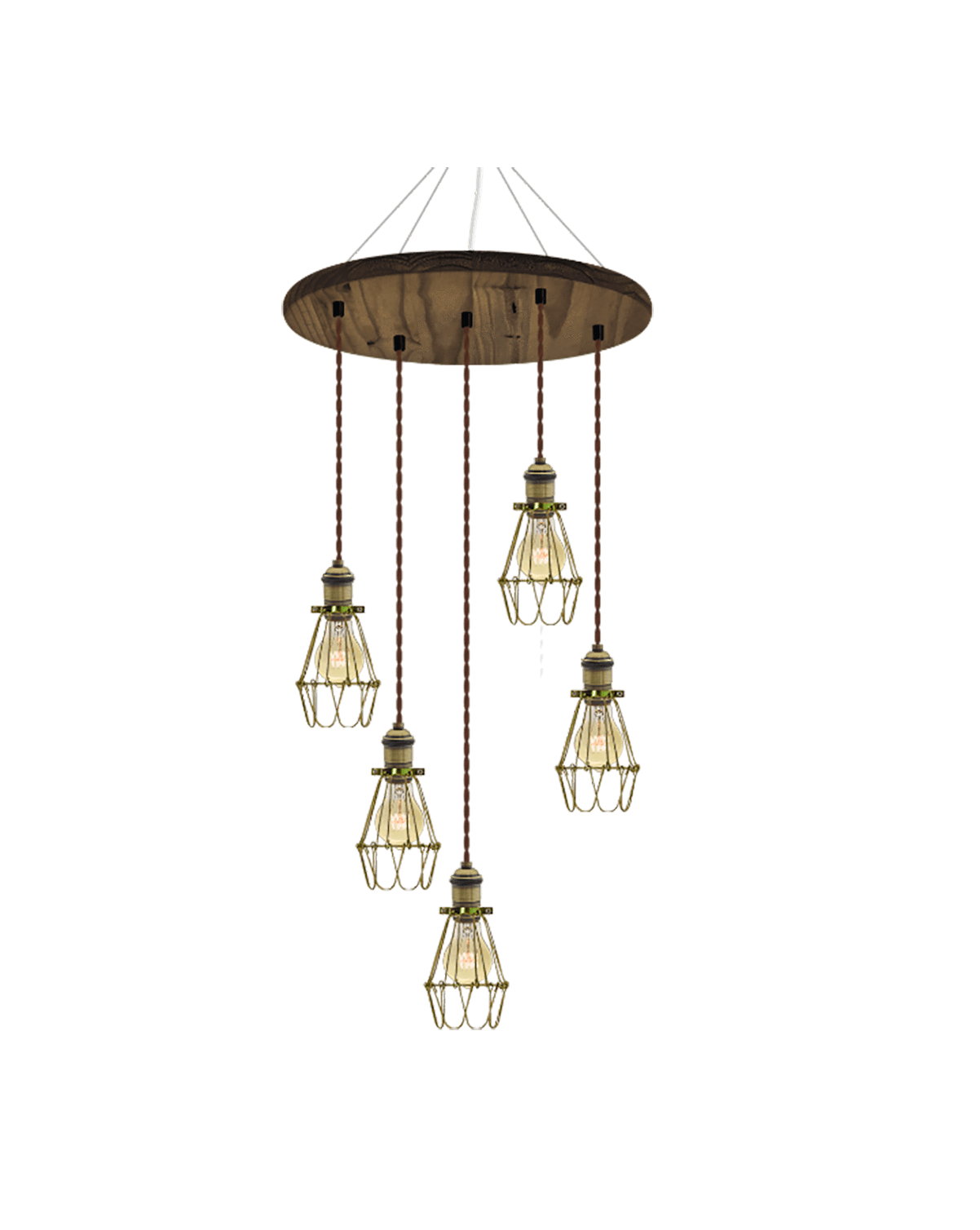 "18"" Round Wood Chandelier: Walnut, Brown, and Brass Cages Hangout Lighting"