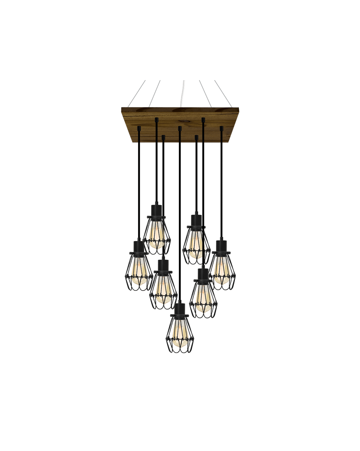 "18"" Square Wood Chandelier: Black and Black Cages Hangout Lighting"
