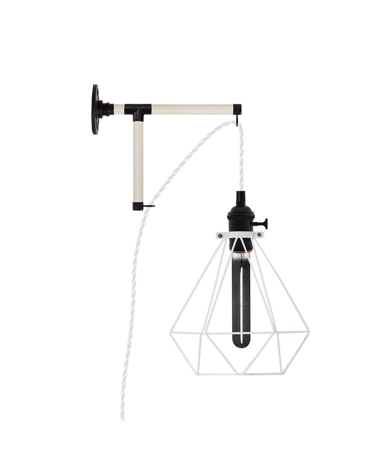 Plug-in L-Bracket Wall Sconce: Black and White