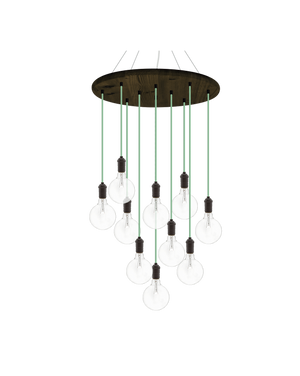 "24"" Round Wood Chandelier: Mint and Bronze with 5"" Clear Globes Hangout Lighting"