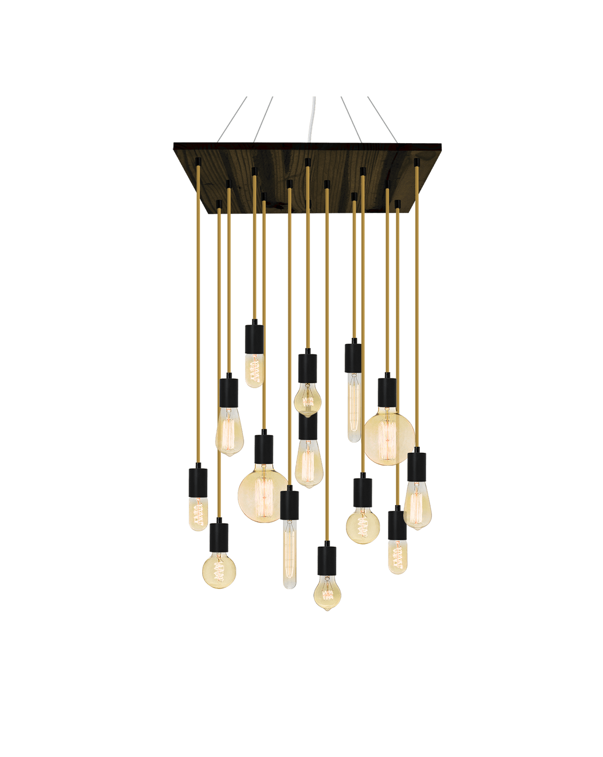 "24"" Square Wood Chandelier: Black and Rust With Mixed Antique Bulbs Hangout Lighting"