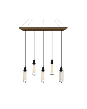 "35"" x 9"" Reclaimed Wood Chandelier: Walnut, Black, and Tube Cages Hangout Lighting"