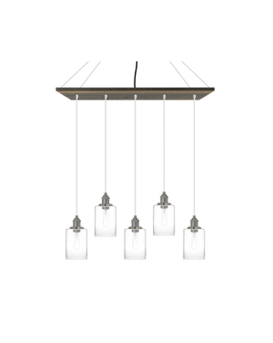 "35"" x 9"" Wood Chandelier: Grey, White, and Glass Cylinder Shades Hangout Lighting"