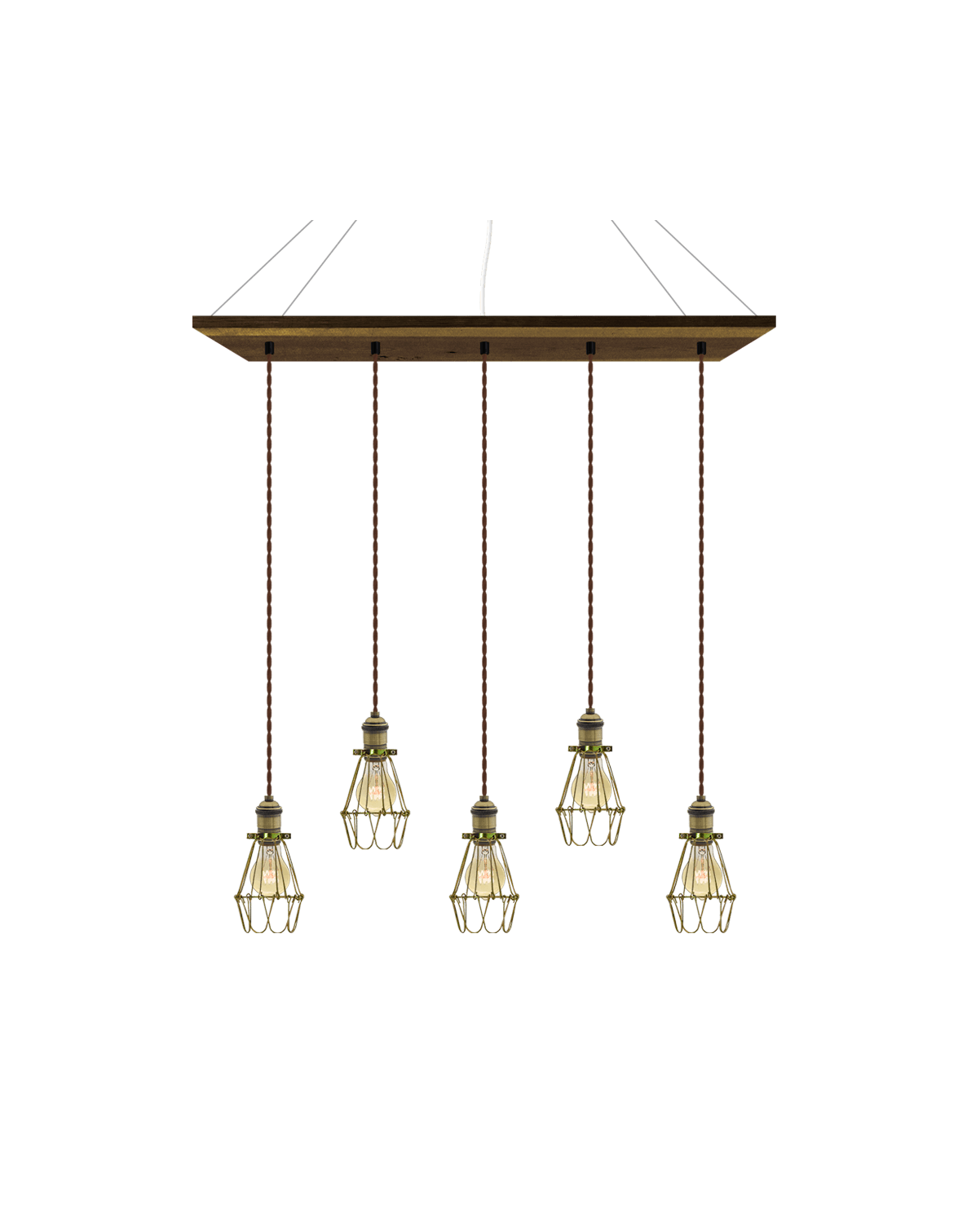 "35"" x 9"" Wood Chandelier: Walnut, Brown, and Brass Cages Hangout Lighting"