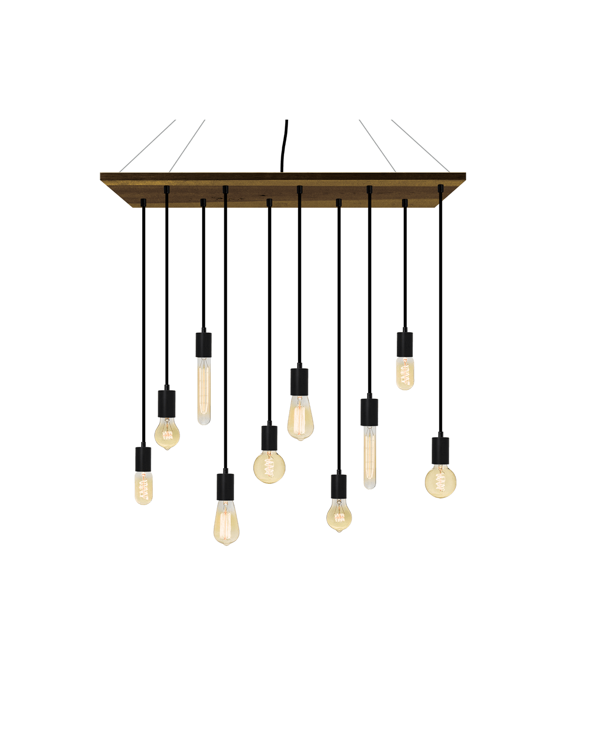 "35""x12"" Wood Chandelier: Black and Mixed Antique Bulbs Hangout Lighting"