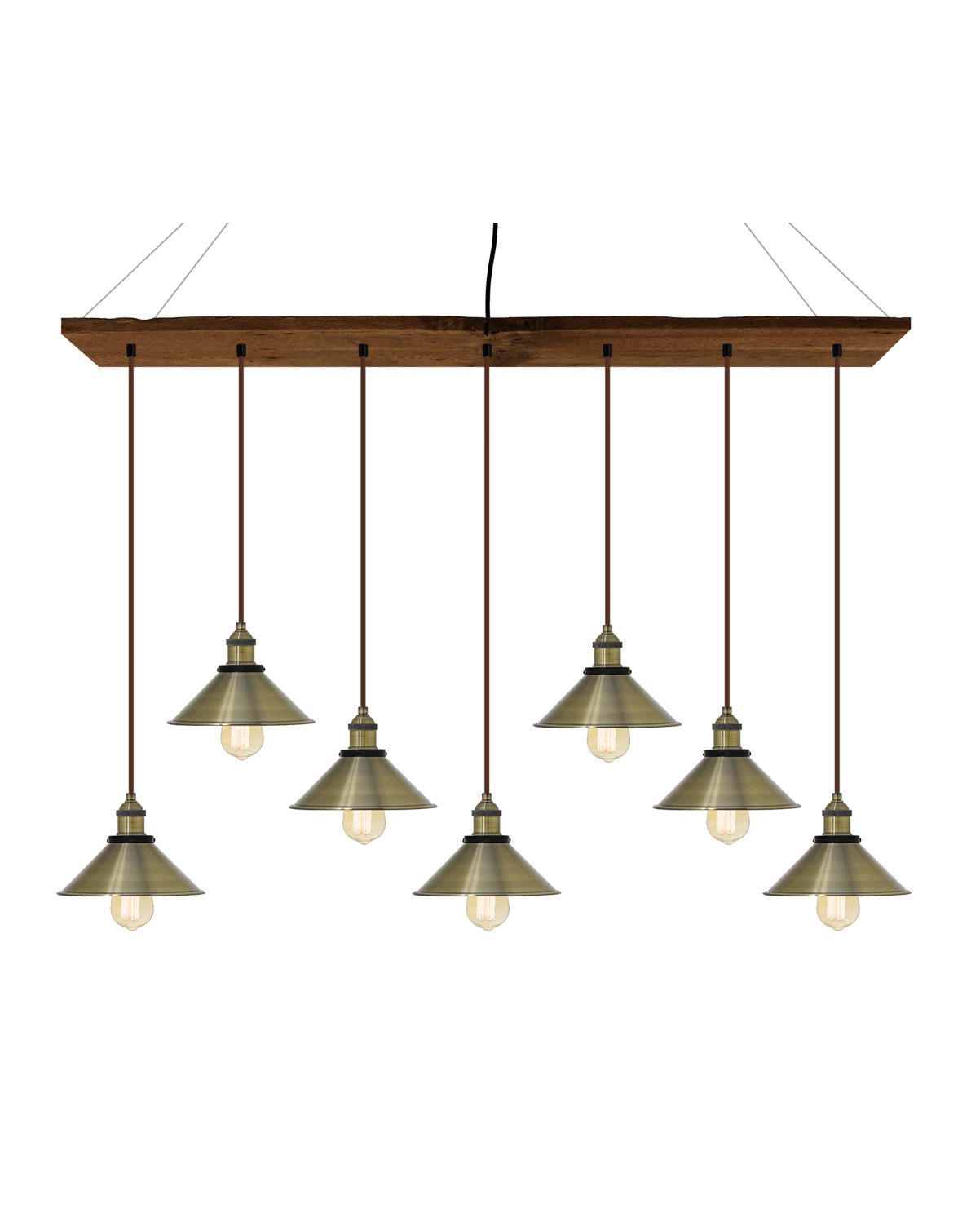 "47"" x 9"" Reclaimed Wood Chandelier: Walnut, Brown, and Antique Brass Shades Hangout Lighting"