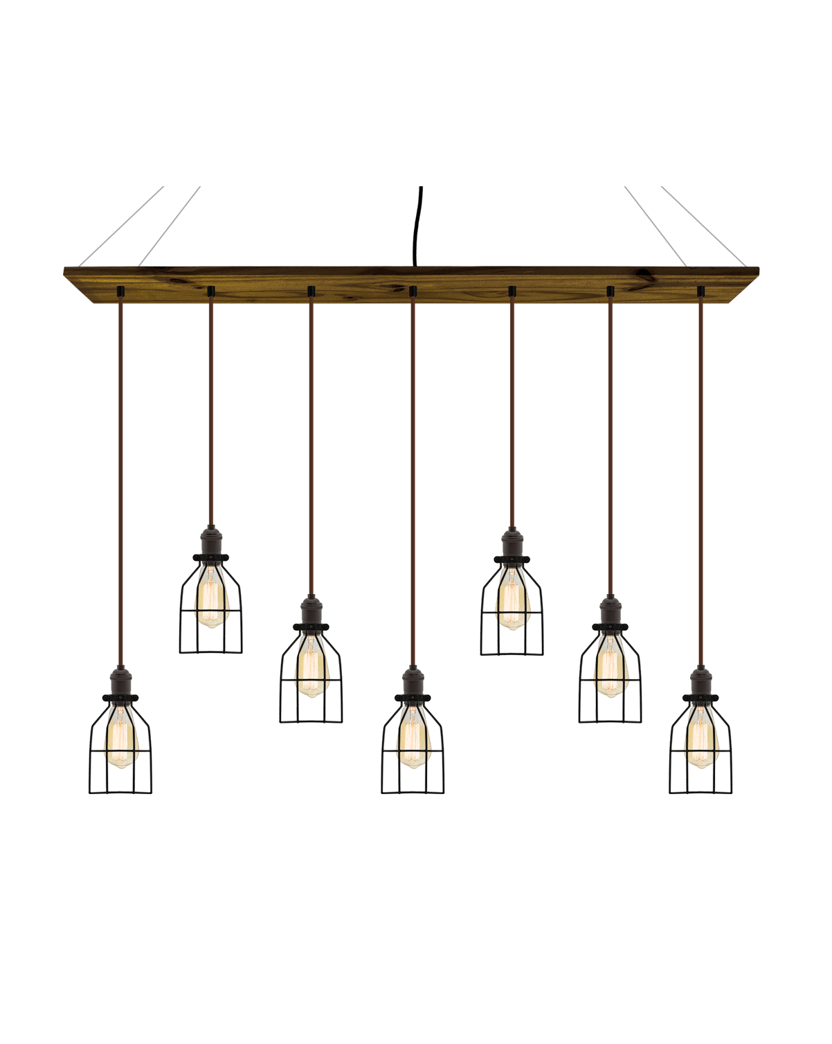 "47"" x 9"" Wood Chandelier: Walnut, Brown, and Black Cages Hangout Lighting"