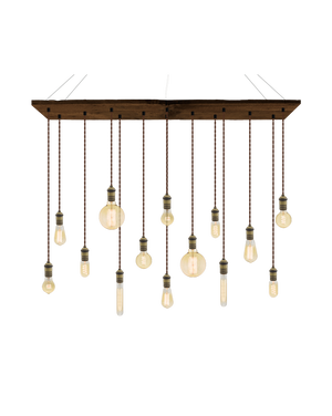"47""x12"" Reclaimed Wood Chandelier: Walnut, Brown, and Mixed Antique Bulbs Hangout Lighting"