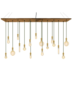 "70""x12"" Reclaimed Wood Chandelier: Olive and Brass with Mixed Antique Bulbs Hangout Lighting"