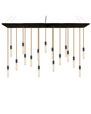 "70""x12"" Reclaimed Wood Chandelier: Rust and Tube Bulbs Hangout Lighting"