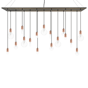 "70""x12"" Wood Chandelier: Grey, Copper, and Mixed Clear Bulbs Hangout Lighting"
