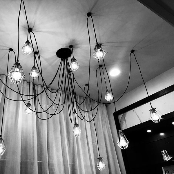 black and white industrial swag chandelier