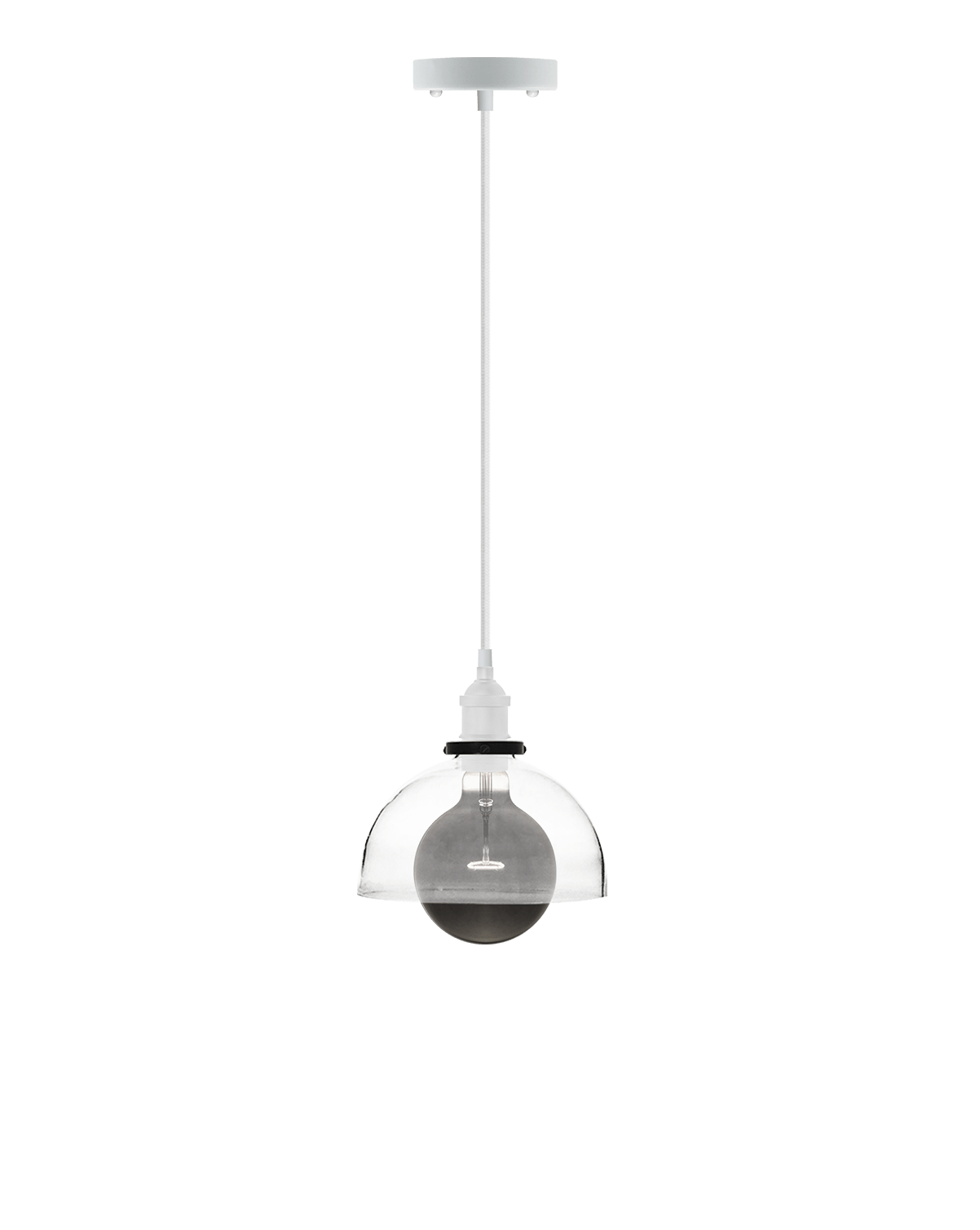 Pendant Light with Glass Shade and Smoke Bulb